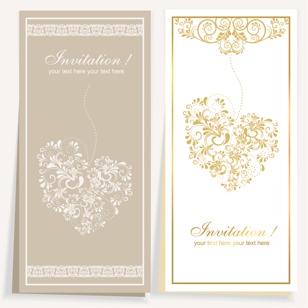 elegant invitation card for wedding vector 01