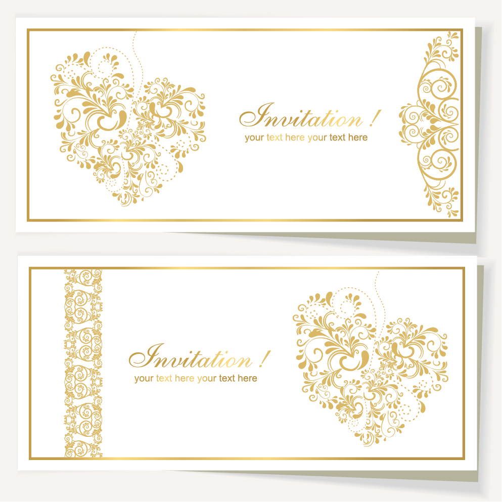Elegant Invitation Card For Wedding Vector 03 Free Download