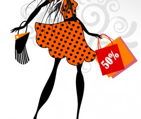 Fashion girl with shopping vectors 02