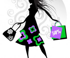 Fashion girl with shopping vectors 03