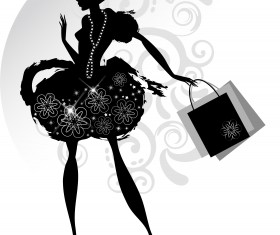 Fashion girl with shopping vectors 04