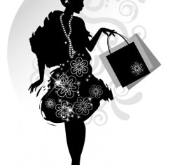 Fashion girl with shopping vectors 06