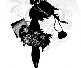 Fashion girl with shopping vectors 09