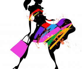 Fashion girl with shopping vectors 10