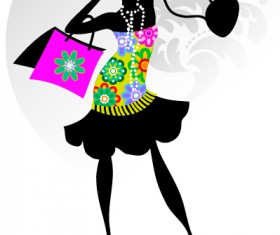 Fashion girl with shopping vectors 11