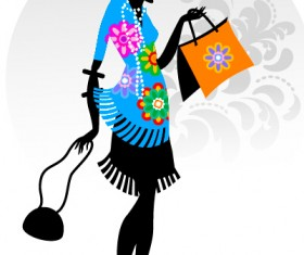 Fashion girl with shopping vectors 13