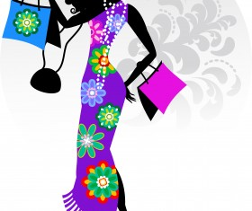 Fashion girl with shopping vectors 15