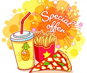 Fast food with grunge background vector 01