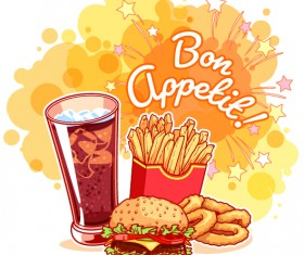 Fast food with grunge background vector 04