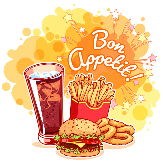 Fast Food With Grunge Background Vector 04 Vector
