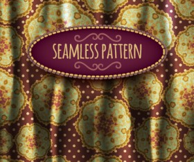 Floral seamless pattern with silk vectors 01