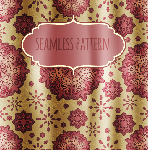 Floral seamless pattern with silk vectors 03
