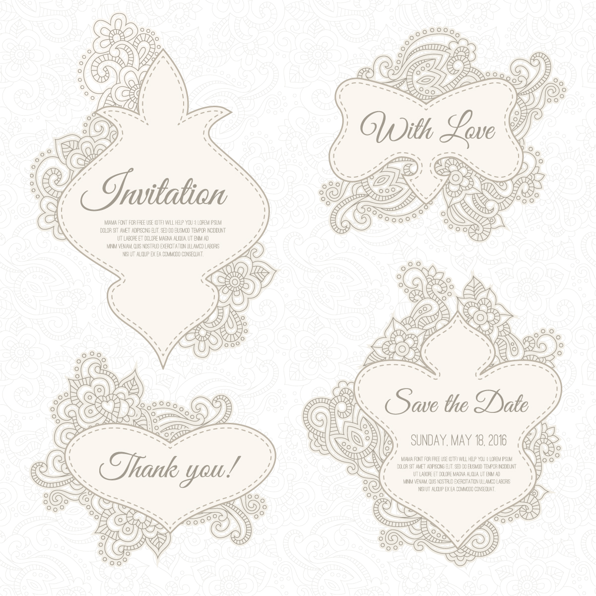 Floral wedding invitation labels vector.rar - Vector Floral free ...