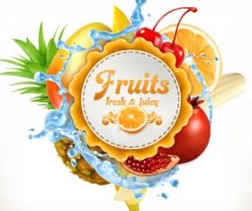 Fresh fruits vector label 01