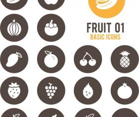 Fruits circle icons vector material 01