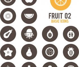 Fruits circle icons vector material 02