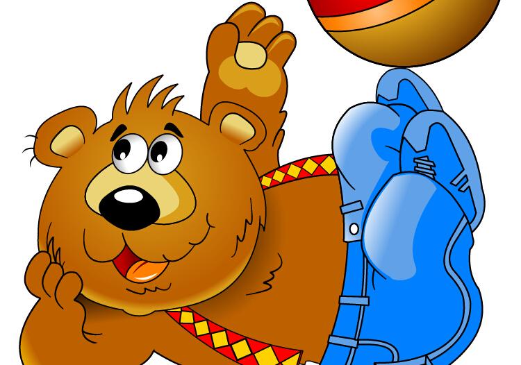Funny bear with ball vecor