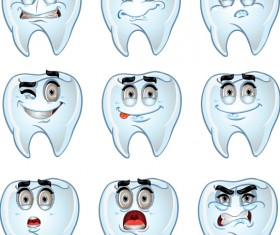 Funny teeth emoticons icons set 01