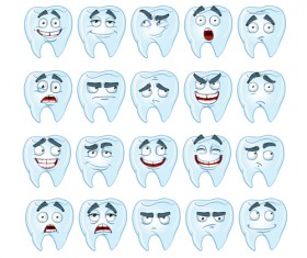Funny teeth emoticons icons set 02