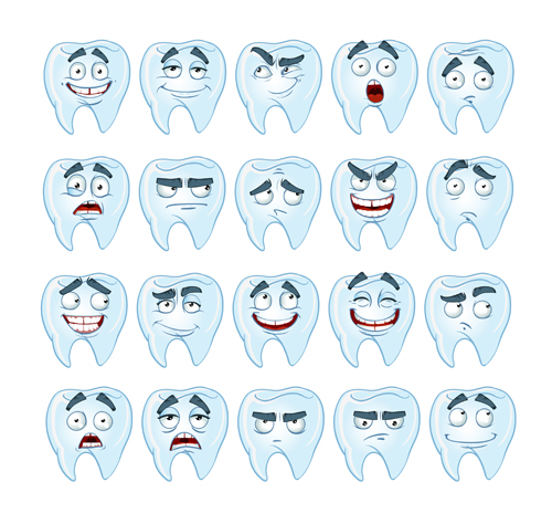 cute smile healthy teeth with different emotions