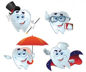 Funny tooth with health vector icons set 01