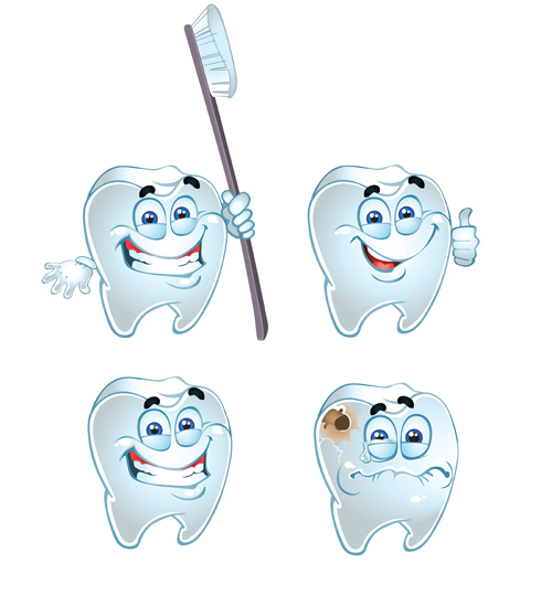 Funny tooth with health vector icons set 02