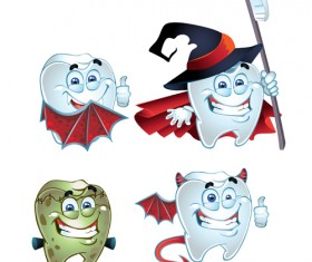Funny tooth with health vector icons set 03
