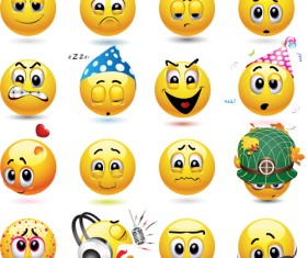 Funny yellow smile face vector icons 02