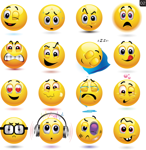 Funny Yellow Smile Face Vector Icons 04 Free Download