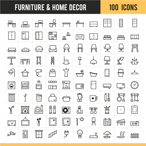 furniture with home decor icons vector - Home Decor Photos Free