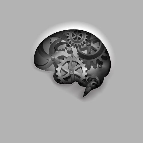 Gear with brain vector