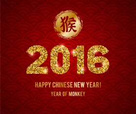Golden china 2016 new year with red background vector