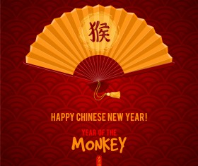 Golden fan with china 2016 monkey new year vector background