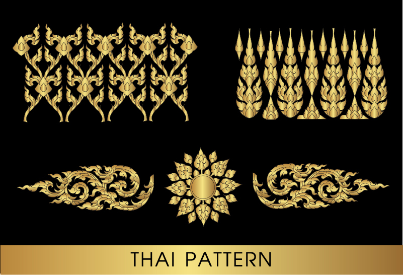 Golden Thai Ornaments Art Vector Material 08 Vector