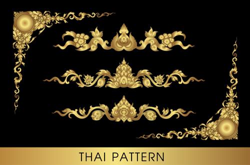Golden thai ornaments art vector material 13 - Vector