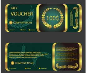 Golden with green gift voucher template vector