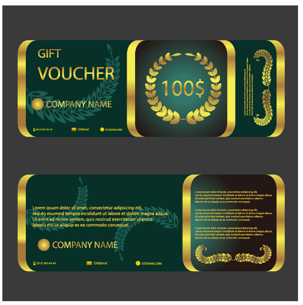 Golden with green gift voucher template vector