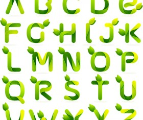 Green leaves alphabets abstract vector