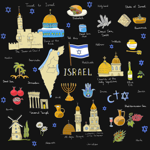 Hand drawn Israel travel elements vector 01