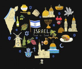 Hand drawn Israel travel elements vector 02