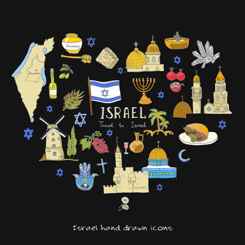 Hand drawn Israel travel elements vector 02