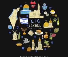 Hand drawn Israel travel elements vector 03