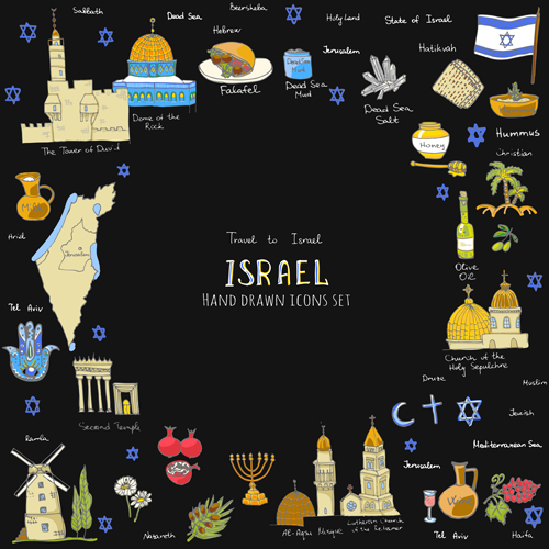 Hand drawn Israel travel elements vector 04