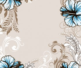 Hand drawn floral vintage background vectors