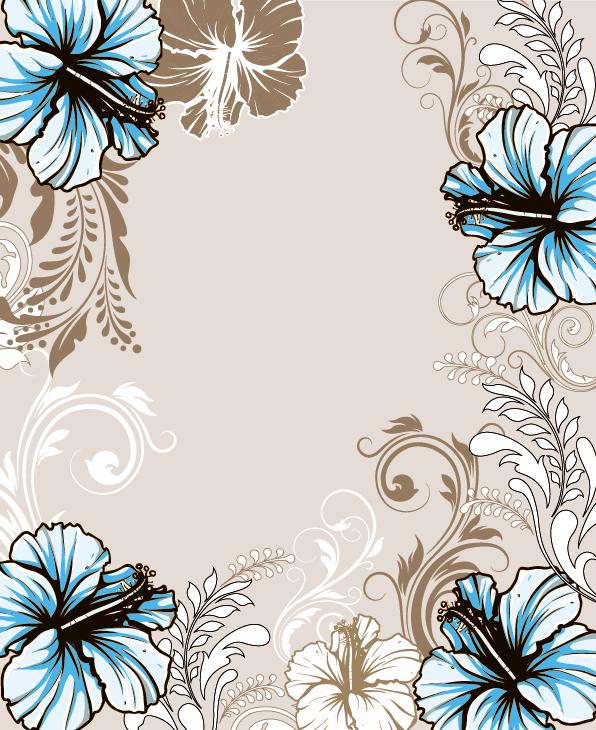 Hand drawn floral vintage background vectors
