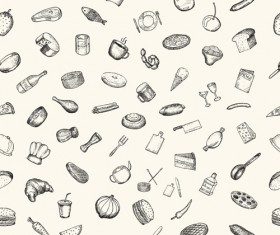 Hand drawn kitchen elements vector seamless pattern