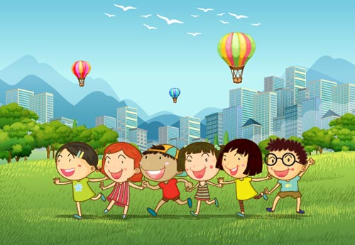 Happy Children With Nature Background Vector 02