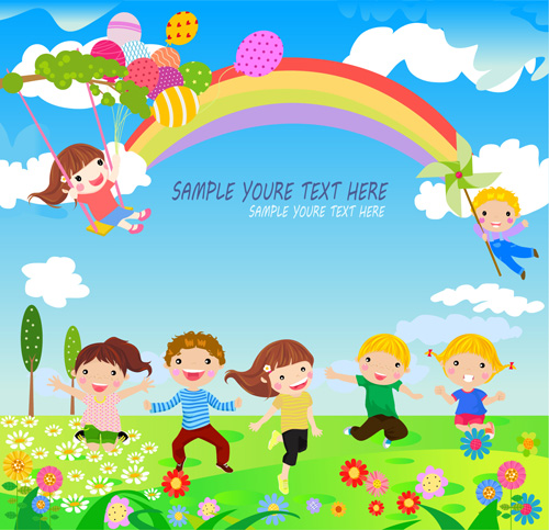 happy children with nature background vector 03 free download
