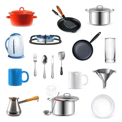 Kitchen utensils design elements vector set 01