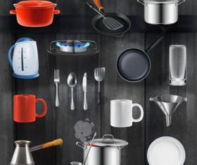 Kitchen utensils design elements vector set 02